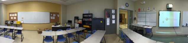 The desks in my room are arranged in staggered rows of four, facing diagonally in towards the Smartboard.